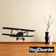 BiPlane Airplane Wall Decal - Vinyl Decal - Car Decal - 004