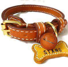 Dog collar set are out to client :-) Dog collar and leash, dog collar, cat collar, pet collar, ปลอกคอหนังแท้, ปลอกคอสุนัข, ปลอกคอหมา, ปลอกคอแมว
