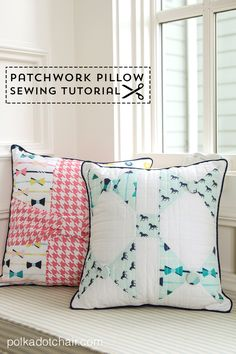 A free sewing pattern for a pillow with a bow made from Derby Style Fabric by Melissa Mortenson. A cute pillow sewing tutorial with a bow