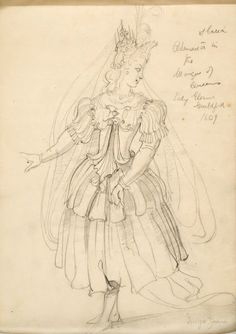 "Reinette: Costumes by Inigo Jones and Buontalenti.  Second sketch for Artemisia in 'The Masque of Queens"",1609"