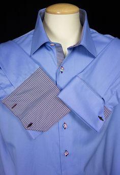 BESPOKE H. Halpern ESQ Men New Elite Dress Shirt 18.5 L XXL 2XL Blue French $348 #HHALPERNESQ