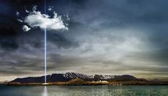 Videy island, peace tower, near Reykjavik