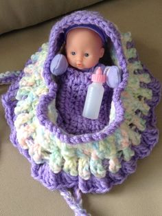 New Adorable purple crochet cradle purse with doll blanket pillow and baby bottle also called church purse girls purse with doll  READY TO