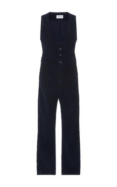 This jumpsuit by **Frame Denim** features a cropped leg and scoop neck design that makes it easy to pair with a layer underneath. Frame Denim, Denim Fashion, Scoop Neck, Waist Coat, Black Jeans, Jumpsuit, Sweatpants, Legs, Cotton