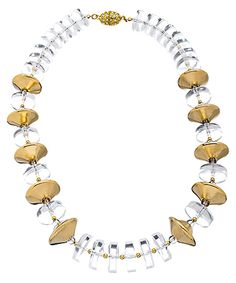 Boyer New York Gold Vintage Saucer & Lucite Necklace #maxandchloe