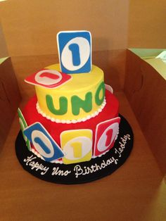 1st Birthday UNO cake