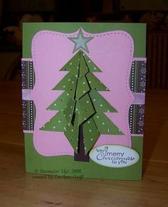 Origami Christmas tree card - very cute, and it's easy folding! Origami is de kunst Origami Christmas Tree Card, Christmas Scrapbook Paper, Christmas Mini Albums, Christmas Cards To Make, Xmas Cards, Christmas Crafts, Winter Cards, Homemade Cards, Cardmaking