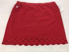 Quacker Factory DreamJeannes Smile N Style Scalloped Red Skort Rhinestones 2X #QuackerFactory #Skorts