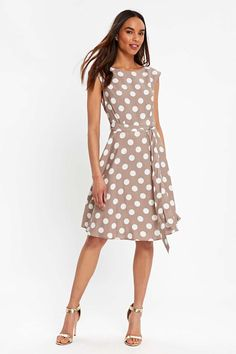 Taupe Polka Dot Fit And Flare Dress | Wallis