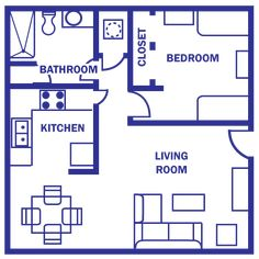 floor plan under 500 sq ft | Standard Floor Plan- One Bedroom Apartment –