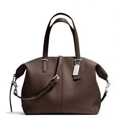 Coach Bleecker Cooper Satchel In Pebbled Leather (9.785 RUB) ❤ liked on Polyvore featuring bags, handbags, purses, handle satchel, brown satchel purse, brown satchel handbags, coach satchel y brown purse