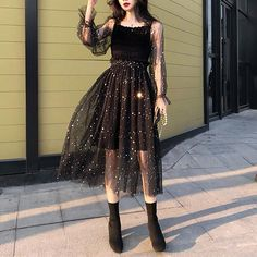 Black Fairy Star Paillette Long Dress Material: made of lace Size: S/M/L/XL Color: Black Size for reference: Size Bust Waist Length Sleeve Length S Mode Outfits, Dress Outfits, Casual Dresses, Fashion Dresses, Dress Up, Long Dresses, Elegant Dresses, Sexy Dresses, Fancy Dress