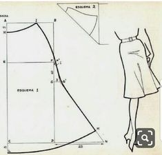 Drafting a bias cut tulip skirt Sewing Hacks, Sewing Tutorials, Sewing Projects, Skirt Patterns Sewing, Clothing Patterns, Fashion Sewing, Diy Fashion, Fashion Moda, Sewing Clothes