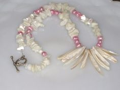 Pink Freshwater Pearl Necklace  Pink and White by smashboxjewels