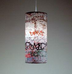 braxton and yancey: Graffiti Décor – Street Art in Home Decorating Graffiti Furniture, Graffiti Bedroom, Interior Design Blogs, Pendant Lamp, Pendant Lighting, Light Pendant, Street Art, Altea, Graffiti Styles