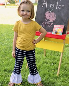 @5outof4patterns posted to Instagram: How cute are these pants?! The Kids' Rachel Knit Pants pattern makes great play pants or school pants. You can add a single or double ruffle to the bottom for a fun touch, or make them without ruffles! My kids love Rachel pants because they are a little more comfortable than leggings, but not super baggy! Link in bio! #5outof4patterns #ilovetosew #5oo4 #pdf #isew #sewcialists #handmadewardrobe #sewing #sew #sewingproject #fabric #sewingforkids #sewingforb Sewing Patterns For Kids, Sewing For Kids, School Pants, Double Ruffle, Knit Pants, Pants Pattern, Pattern Making, Ruffles, Sewing Projects