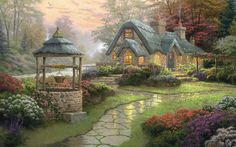 Landscape, Painting, Cottage, Wood, Flowers, Kinkade, Thomas