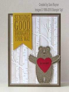 Bear hugs card, using supplies from Stampin' Up! www.craftingandstamping.com #stampinup
