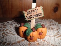 Polymer Clay Halloween Sign -Happy Halloween Sign with Three Little Pumpkins.