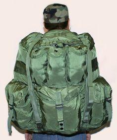 USGI Military Large Olive Drab Alice Pack w/ Straps / Frame / Pad. -.