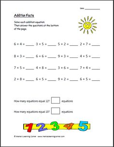 Addition Facts - Mamas Learning Corner