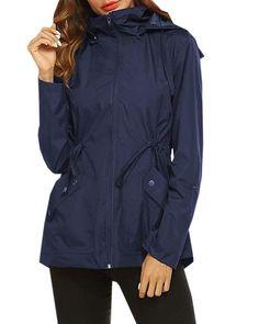 Dellytop Womens Casual Waterproof Hooded Jacket Lightweight Zip Up Windbreaker with Pocket #Sponsored Rompers Women, Jumpsuits For Women, Waterproof Hooded Jacket, Overalls Women, Hoods, Zip Ups, Windbreaker, Classy, Pocket