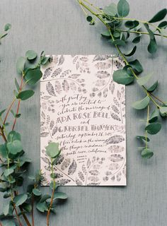 illustrated botanical wedding invitations