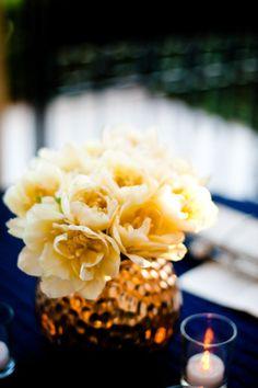 cream flowers, gold vase