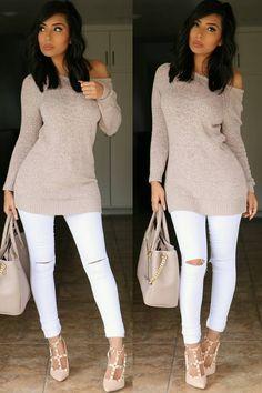 Neutrals Sweater @forever21 , Jeans @fashionnova promo code xoitsmonica Shoes @gojane , Bag @justfabonline Fashion Look by itsmsmonica
