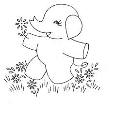 Elephants prancing in flowers just waiting to be embroidered onto dish towels or pillowcases!