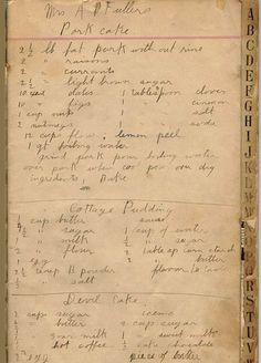 handwritten vintage recipe for Pork Cake, devil cake, and cottage pudding Retro Recipes, Old Recipes, Cookbook Recipes, Vintage Recipes, Cooking Recipes, Family Recipes, Cooking Ideas, Vintage Ephemera, Vintage Paper