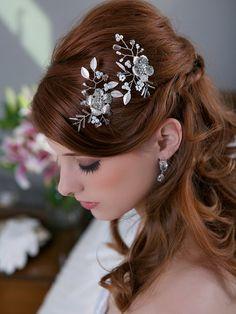 Silver Crystal Flower Hair Combs Headpiece Floral by GildedShadows, $84.00