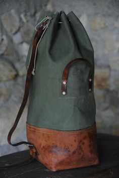 """""""Duffle Rucksack Filed under: Accessories, Duffles, Rucksacks, Bags """" Backpack Bags, Leather Backpack, Duffel Bags, Leather Bags, Leather Projects, Leather Working, Leather Craft, Hermes, Fashion Accessories"""