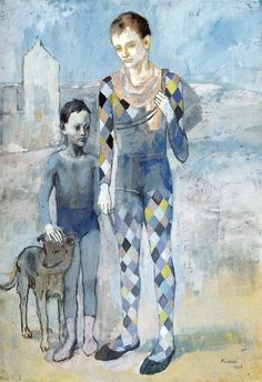Two Acrobats with a Dog (1905) by Pablo Picasso. Towards the end of his Blue Period, he painted the families of acrobats and other travelling circus performers who, still in their stage costumes, haunted the Maquis of Montmartre.