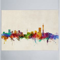 Michael Tompsett Solid-Faced Canvas Print Wall Art Print entitled Johannesburg South Africa Skyline, None Canvas Wall Art, Wall Art Prints, Poster Prints, Canvas Prints, Posters, Johannesburg Skyline, Lotus Flower Mandala, Large Wall Decals, Butterfly Wall Decals