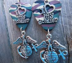 Marine Corps Insignia I Love My Soldier Charm Guitar Pick Earrings Marine Corps Insignia, Military Jewelry, Guitar Picks, Chicago White Sox, Stocking Stuffers, Stockings, Charmed, Personalized Items, My Love