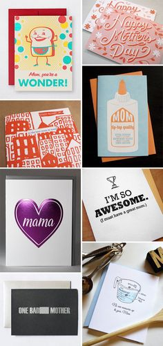 Cheeky and Clever Mother's Day Cards collated by Paper Crave. Above, clockwise from top left: Hello! Lucky; Niftyswank; Anemone Letterpress; Piette Crafts; Wild Ink Press; Brain Surgeons and Rocket Scientists; Kiss and Punch; Egg Press