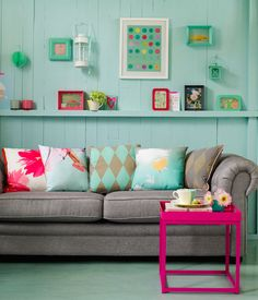 There is no such thing as too many cushions! (<< Oh yes there is!) Spruce up an old sofa with mismatched cushions.