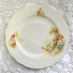 Alfred Meakin Pergola vintage side plate 1950s to 1960s Pretty Pergola patterned cream plate with an oriental Italian pergola and romantic floral scene