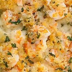 Garlicky Baked Shrimp 1 lb raw shrimp, deveined and peeled 4 cloves garlic, minced salt and pepper cup melted butter cup Panko bread crumbs 2 Tbsp. fresh Italian-leaf parsley, chopped half of a lemon (optional) Fish Recipes, Seafood Recipes, Cooking Recipes, Healthy Recipes, Dinner Recipes, Baked Shrimp Recipes, Shrimp Dejonghe Recipe, Dinner Ideas, Seafood Meals