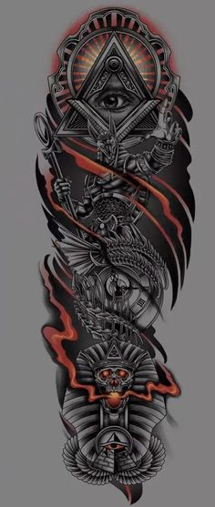 Half Sleeve Tattoos Sketches, Chicano Tattoos Sleeve, Wolf Tattoo Sleeve, Half Sleeve Tattoos For Guys, Half Sleeve Tattoos Designs, Best Sleeve Tattoos, African Sleeve Tattoo, Egyptian Tattoo Sleeve, Head Tattoos