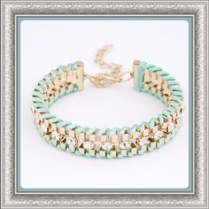 ✨4/11 HP✨ Gold Plated Rhinestone Chain Bracelet Super Cute!!! Hand woven lightweight gold plated bracelet, with rhinestone accents. Available in Black, Hot Pink, Mint Green, Teal Blue and Coral. Perfect for every day casual wear, or dress them up to make a bold statement. Extendable closure chain. Thanks for looking!!! Jewelry Bracelets