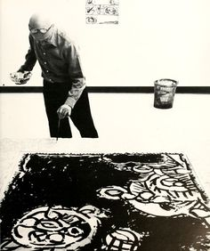 Pierre Alechinsky painting in his studio Bougival France 1984