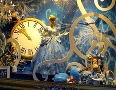 """Enjoy the Christmas magic at the Christian Dior designed holiday windows at Printemps and the Louis Vuitton """"Ball of the Century"""" windows at Galeries Lafayette . Window Display Retail, Christmas Window Display, Christmas Decorations, Christmas Windows, Christmas In Paris, Noel Christmas, Cinderella Dress Disney, Deco Baroque, Vitrine Design"""