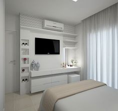 Stylish Bedroom Design Ideas With Tv Wall To Try Asap Bedroom Tv Wall, Bedroom Closet Design, Room Ideas Bedroom, Small Room Bedroom, Home Bedroom, Home Living Room, Bedroom Decor, Wall Tv, Small Room Design