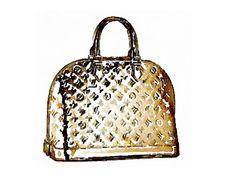 Louis Vuitton Metallic Gold Bag Print from Watercolor Painting Fashion Illustration Poster Purse Handbag Patent Leather Logo