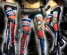 One of a kind, Iron Maiden leggings in black leather look lycra with The Trooper design, red fishnet, silver pyramid studs and faux leather lace up panels on the calf