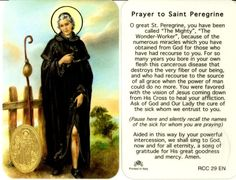NOVENA TO ST. PEREGRINE (PATRON OF THOSE SUFFERING WITH CANCER) - Crusaders of the Immaculate Heart