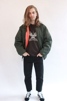 Vintage 90s Dark Green Pilot/bomber Jacket by WastelandVintageUK on Etsy