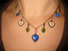 LUCY ISAACS Victorian Style Enamel Painted Puffed Heart Charm Necklace